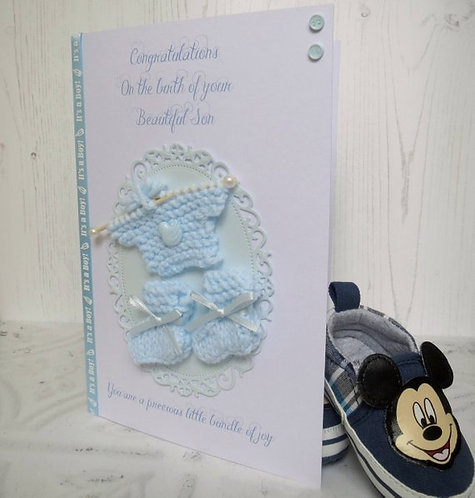 Hand Knitted New Baby Boy Card