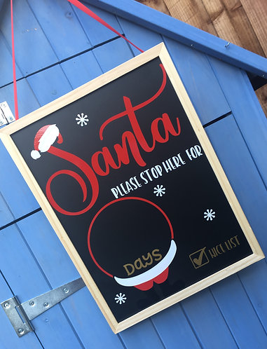 Large Santa's Body Personalised Christmas Countdown Chalkboard