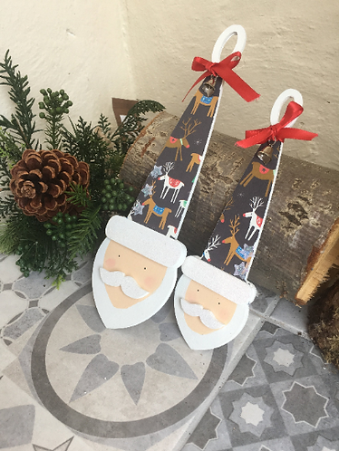 Set of 2 Nordic Handpainted Santa, Scandi Santa