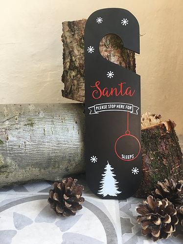 Personalised Santa Please Stop Here Door Hanger