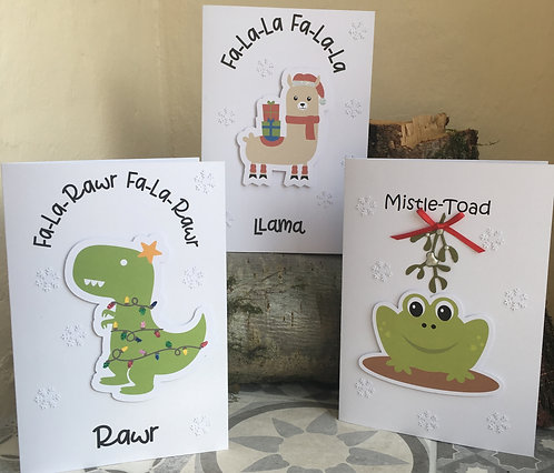 Set of 3 Christmas Pun Cards - Llama, Dinosaur and Toad