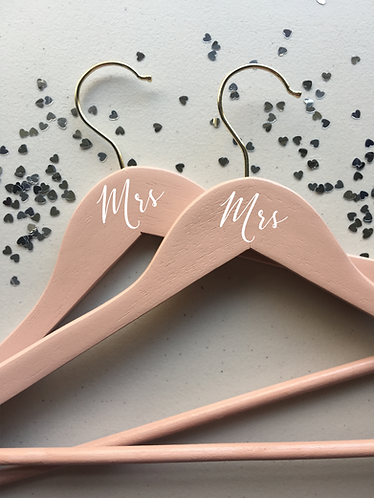 Mrs and Mrs Hangers, Set of 2, Wooden Hangers