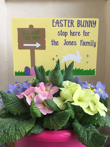 Easter Bunny Stop Here Sign - Personalised