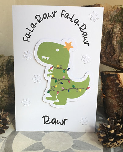 Fa la Rawr Dinosaur Christmas Card