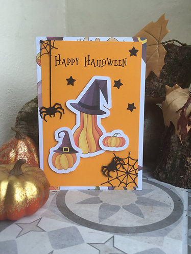 Happy Halloween Pumpkin Spider Card / Invitation / Thank You Card