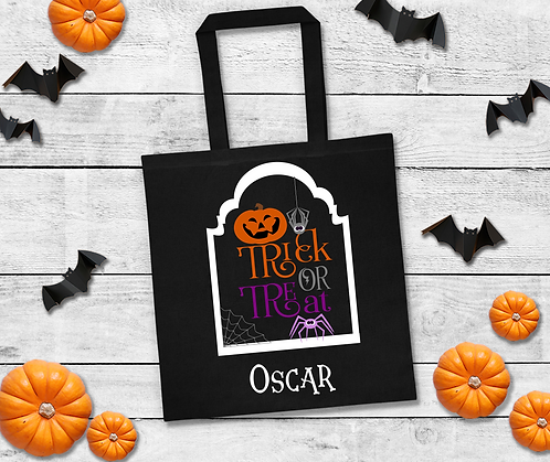 Trick or Treat Personalised Halloween Black Tote