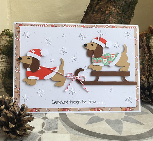 Dachshund sleigh Dogs Christmas card