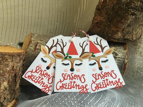 Reindeer gift tags - set of 3