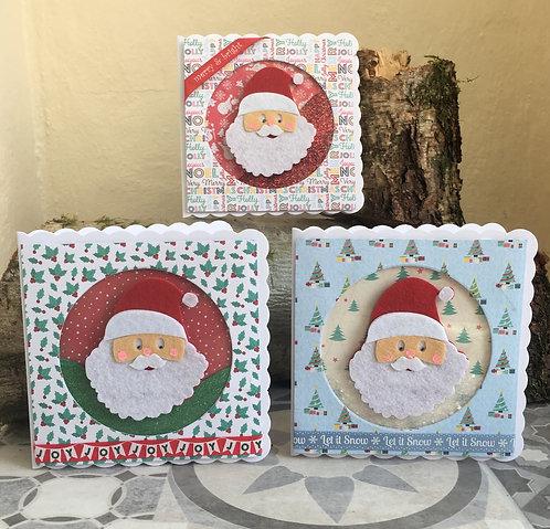 Set of three Santa Christmas shaker cards