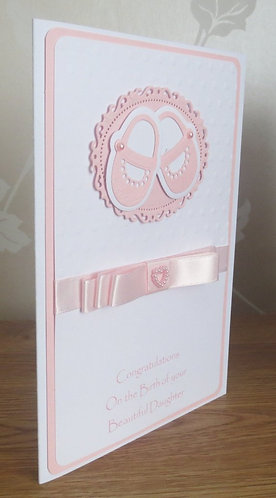 New Baby Girl Shoe Card