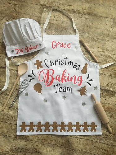 Children's Christmas Baking Apron with Hat (S,M,L)