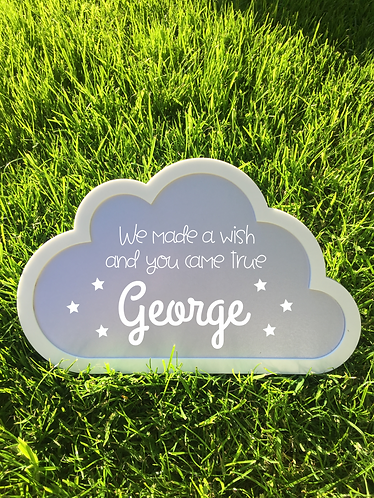 Large Personalised Nursery Keepsake Cloud Sign