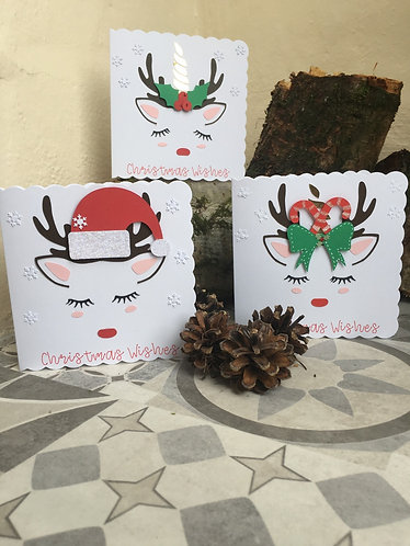 Unicorn Christmas Set of 3 Cards