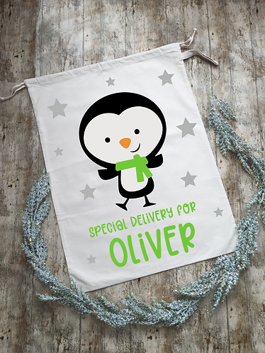 Extra Large Personalised Penguin Santa Sack/Present Sack