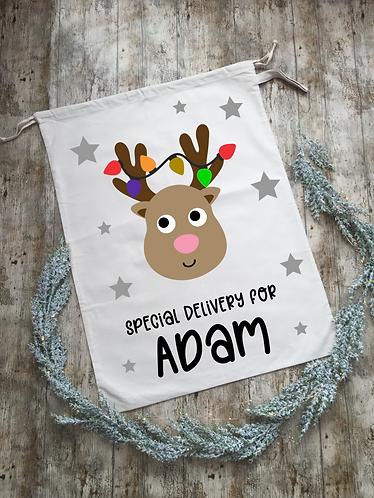 Extra Large Personalised Reindeer Santa Sack/Present Sack