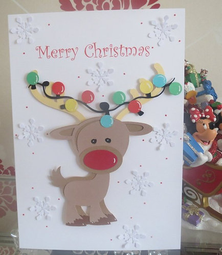 Cute Reindeer with Lights Christmas Card