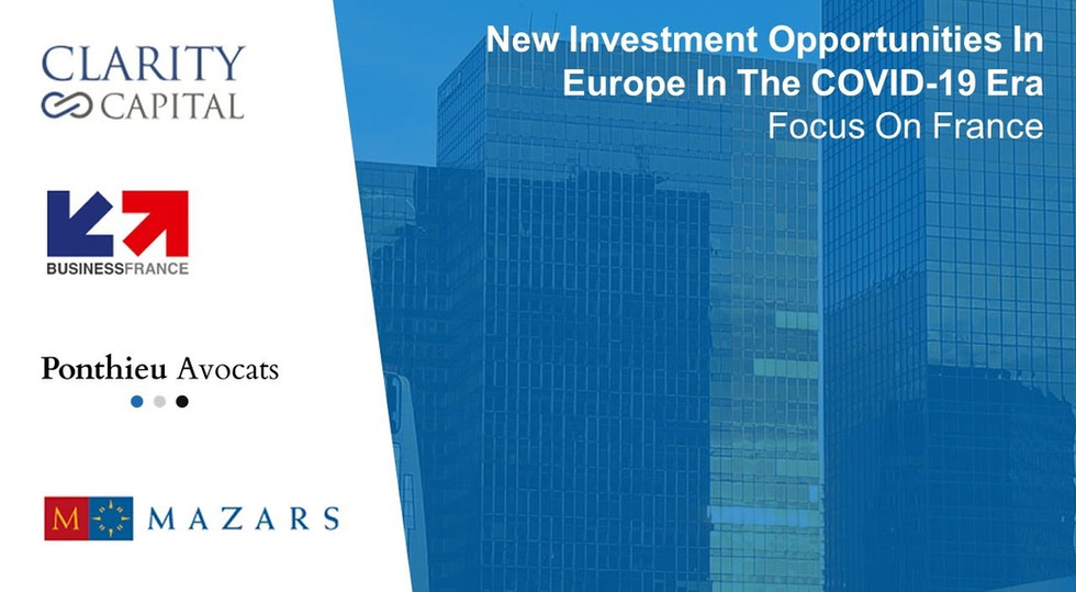 New Investment Opportunities In Europe In The COVID-19 Era – Focus On France
