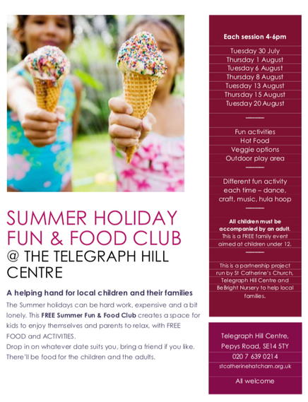 Summer holiday club and free food for children and their families
