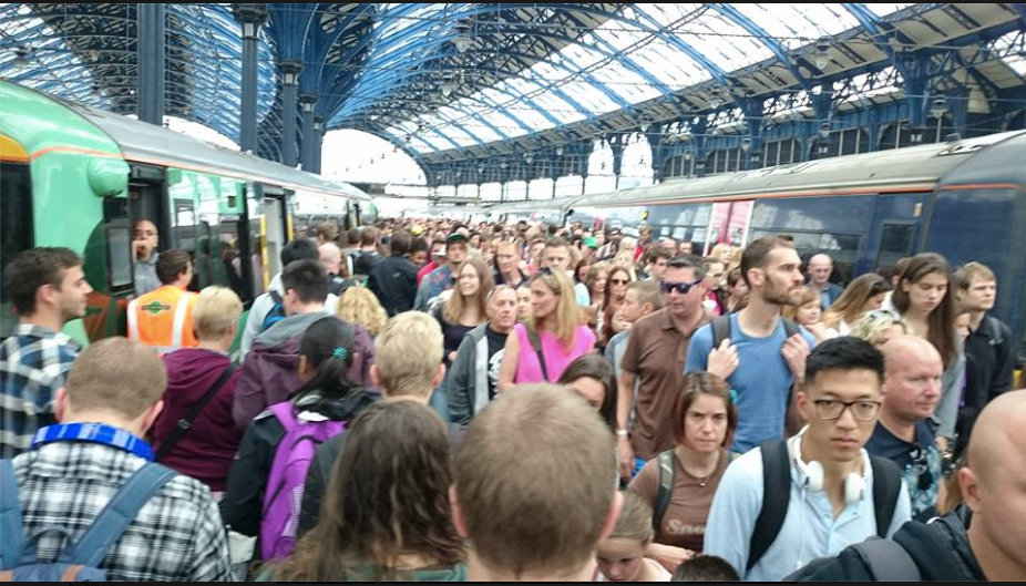 Photo of a crowded platform at Brighton Station today, courtesy of Emily Yates