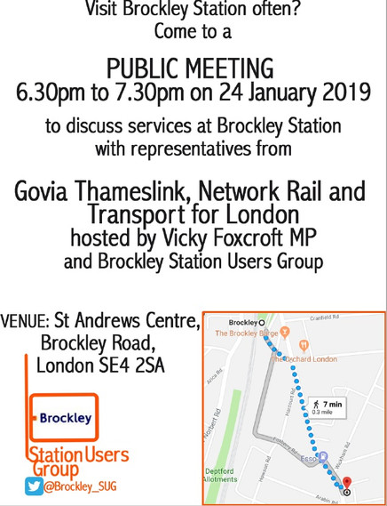 Brockley Station Public Meeting - hosted by Vicky Foxcroft MP on 24 January 2019
