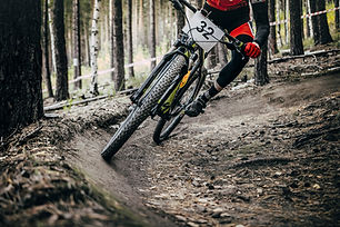 cyclist mountainbiker rides in forest. e