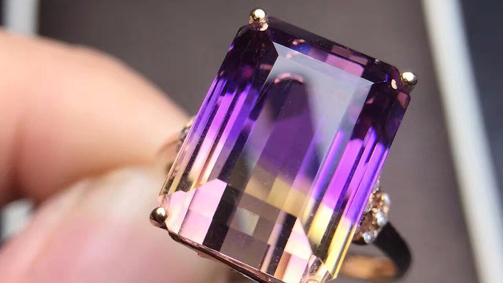Fine Jewelry  Real 18K Rose Gold Au750  100% Natural Ametrine Gemstone