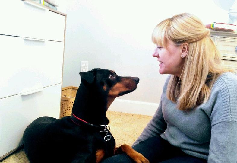 Dog trainer Meg Sanders with dog