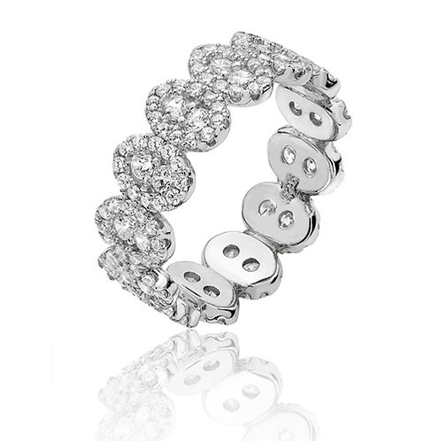Rhodium Plated Silver CZ Eternity Ring
