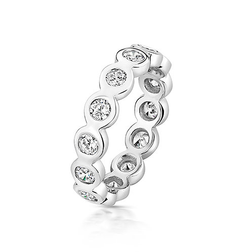 Rhodium Plated Rub-over Set Silver CZ Eternity Ring