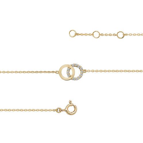 9ct Yellow Gold CZ Double Circle Bracelet