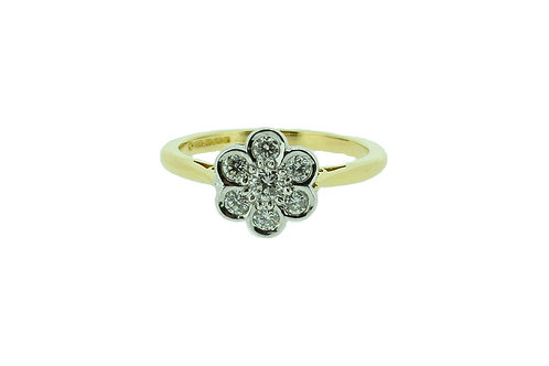 18ct Gold Daisy Diamond Cluster Ring