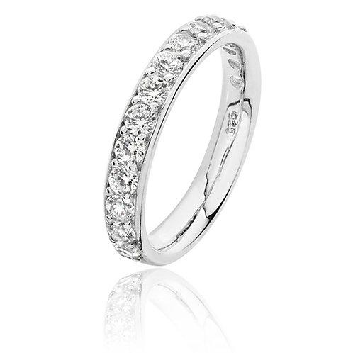 Rhodium Plated Silver CZ Thread and Grain Set 1/2 Eternity Ring