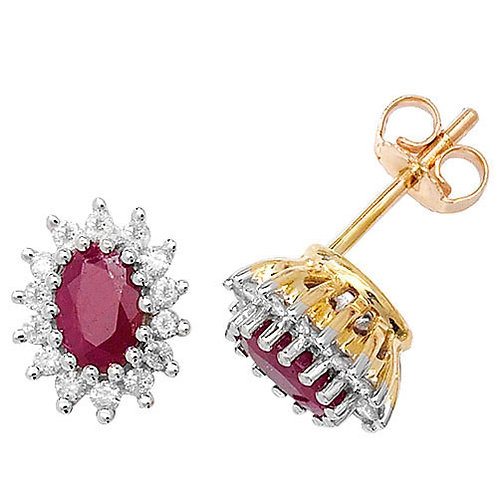 9ct Gold Ruby & Diamond Cluster Studs