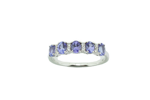 9ct Tanzanite & Diamond Eternity Ring