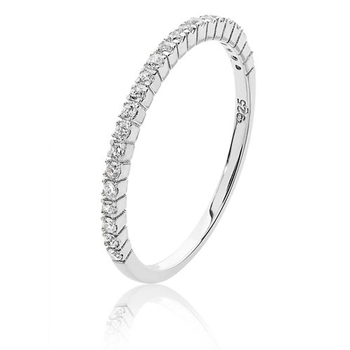 Silver Micro Set 1/2 ET CZ Ring Rhodium Plated