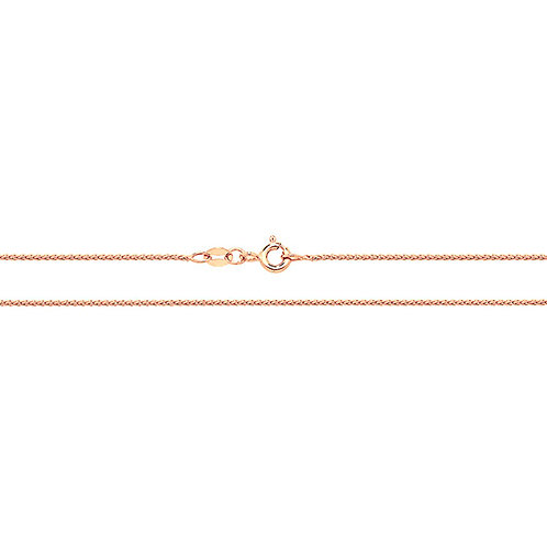 9ct Rose Gold Wheat Round Chain