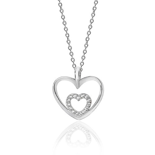 Rhodium Plated Silver CZ Double Heart Pendant