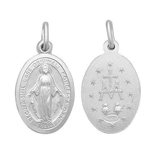 Silver Miraculous Double Sided Pendant (only)