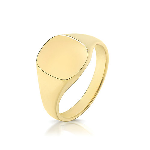 9ct Yellow Gold Cushion Shaped Signet Ring