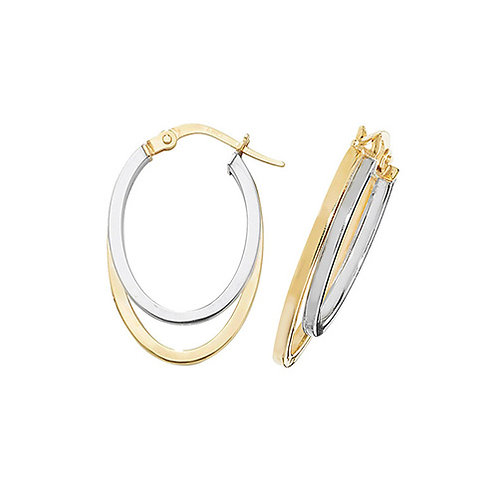 9ct White and Yellow Gold Hoops