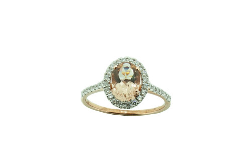 Gold Morganite & Diamond Ring