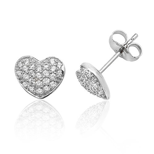Rhodium Plated Silver CZ Pave Heart Studs