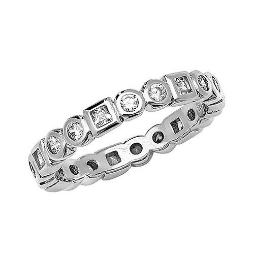 Silver CZ Full Hoop Eternity Ring