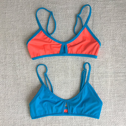 Stargazer Bikini Top - Neon Coral Cyan Blue