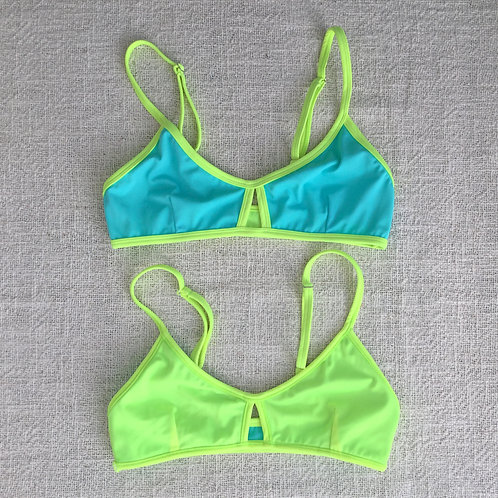 Stargazer Bikini Top - Turquoise Neon Yellow
