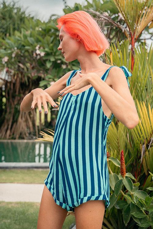 Polly Playsuit Indigo Turquoise Stripes