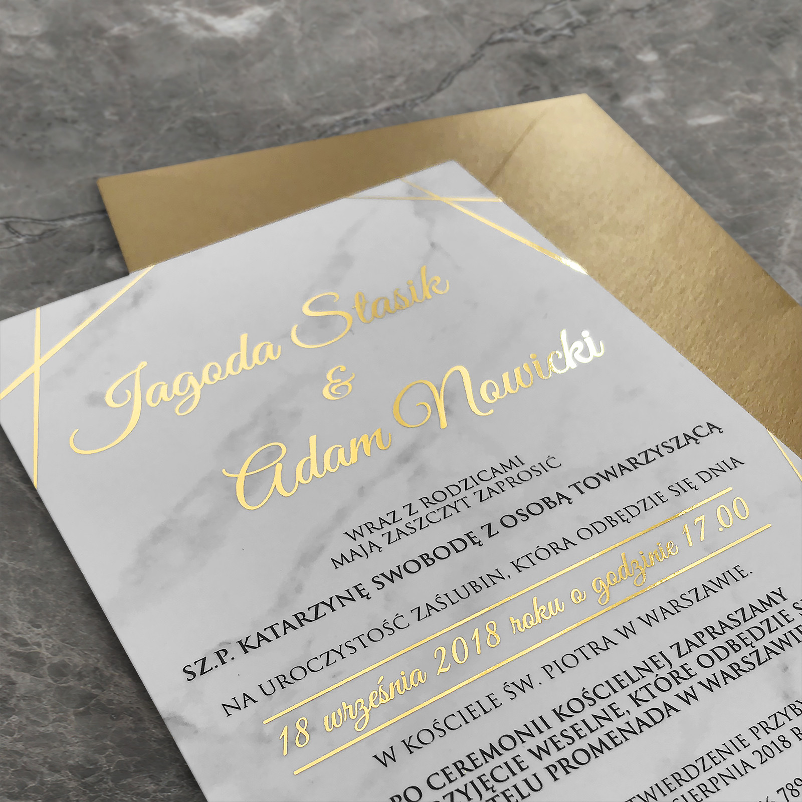 Zaproszenie ślubne Marmur I Złota Folia