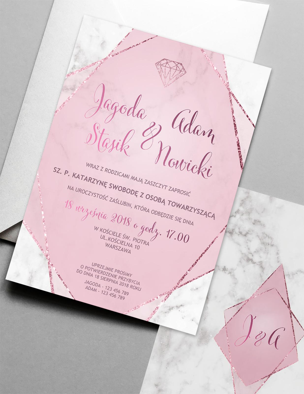 Zaproszenie ślubne Marmur I Róż
