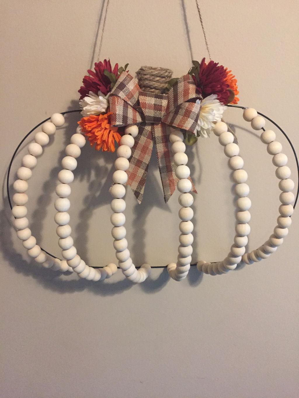 Diy Dollar Tree Pumpkin Wreath With Farmhouse Beads