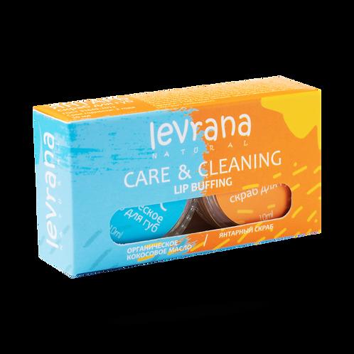 Levrana CARE & CLEANING, органическое кокосовое масло + янтарный скраб для губ